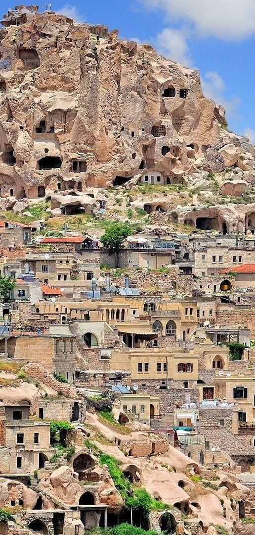 The hillside architecture of Cappadocia, Turkey, is a marvel.