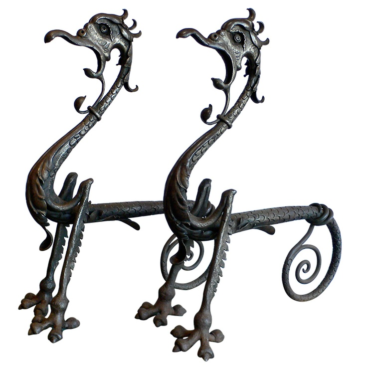 Hand Forged Dragon Andirons  c. 1910