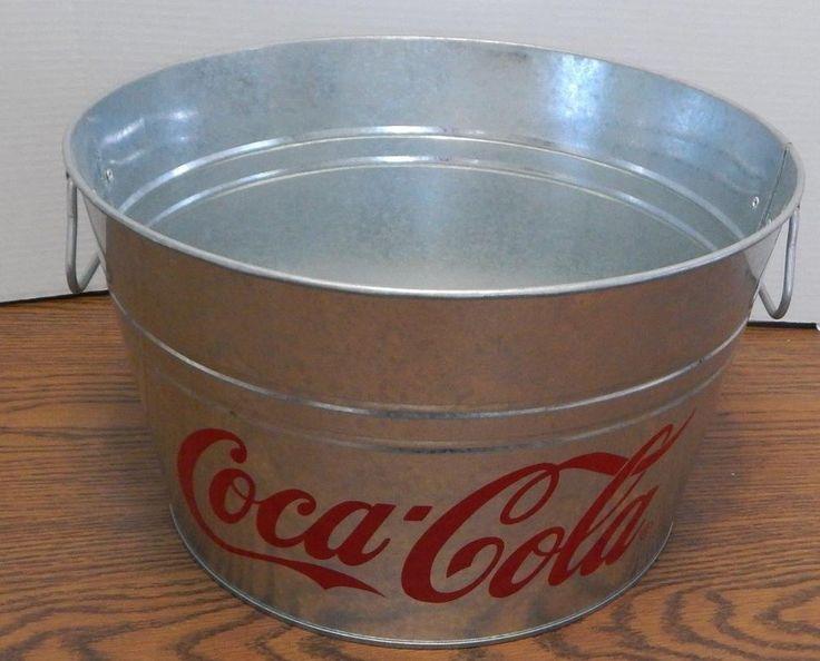 Galvanized Metal Coca Cola Beverage Tub NEW #Unbranded