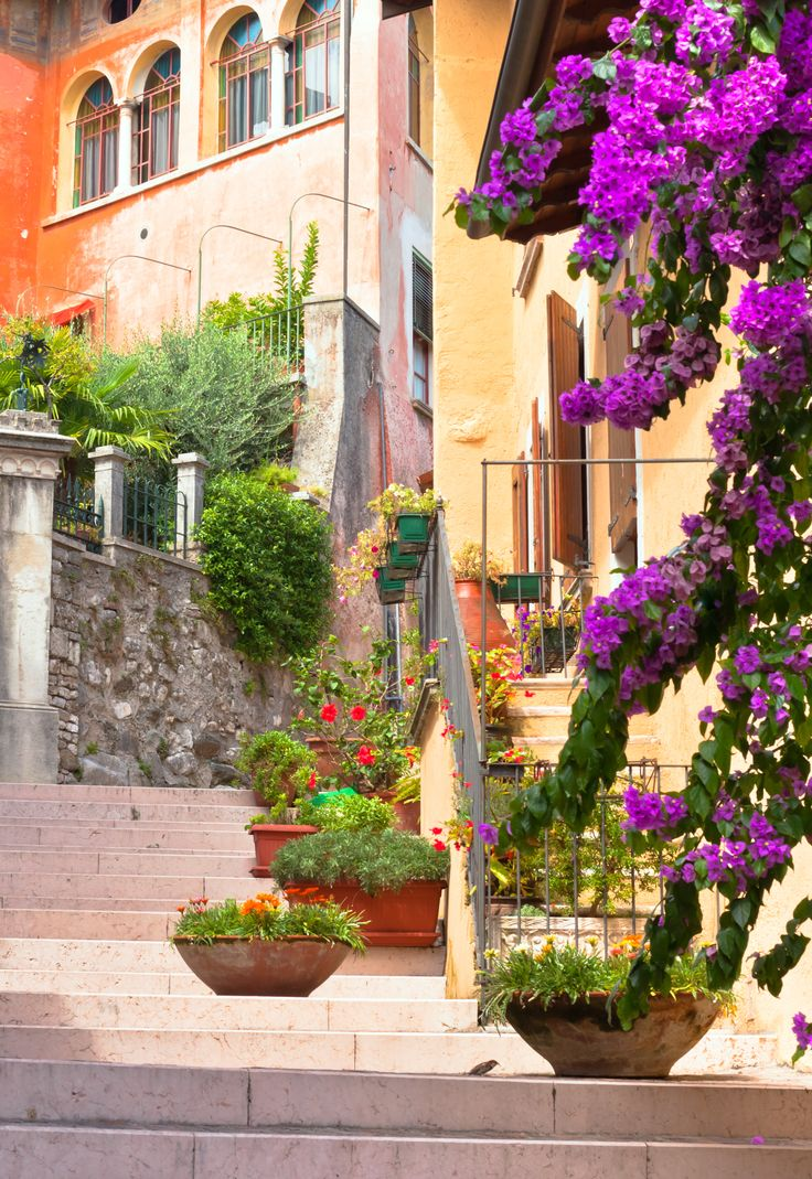 Diano Marina in Liguria - take in the gorgeous flower-lined street.