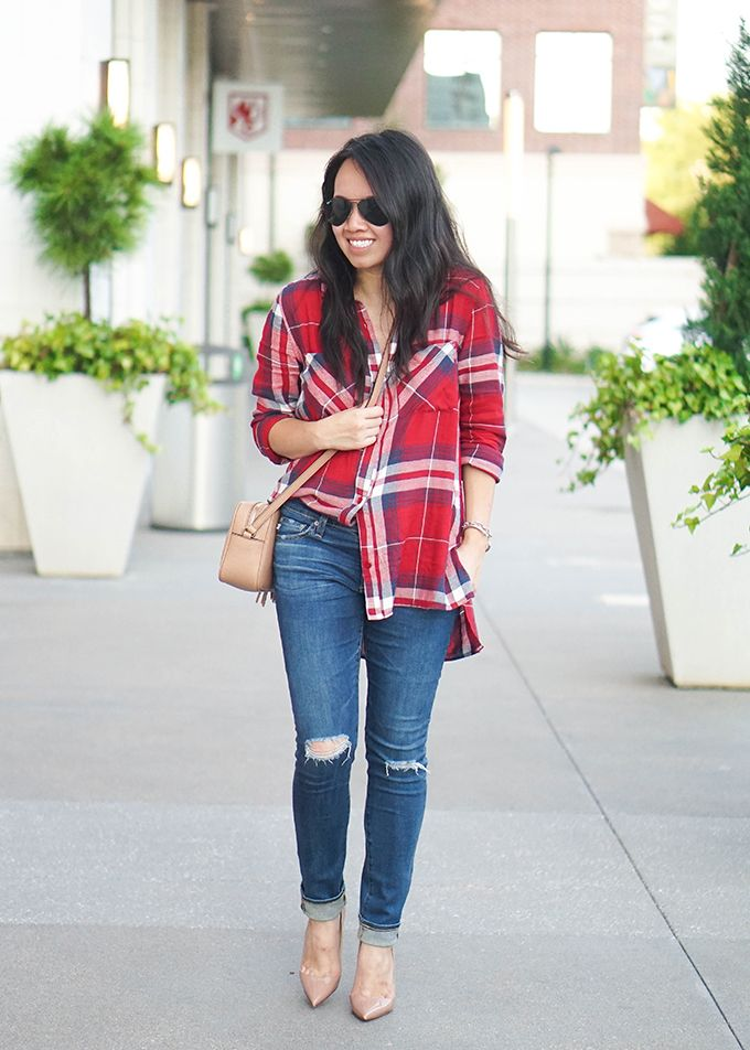 Red plaid shirt to wear in the fall or summer, I love the shirt half tuck outfit