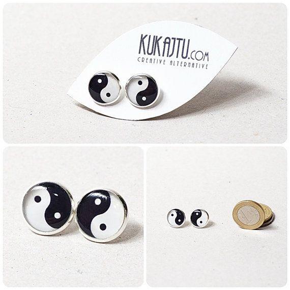 Yin Yang stud earrings Yin Yang jewelry black and by KUKAJTUcom, $8.00