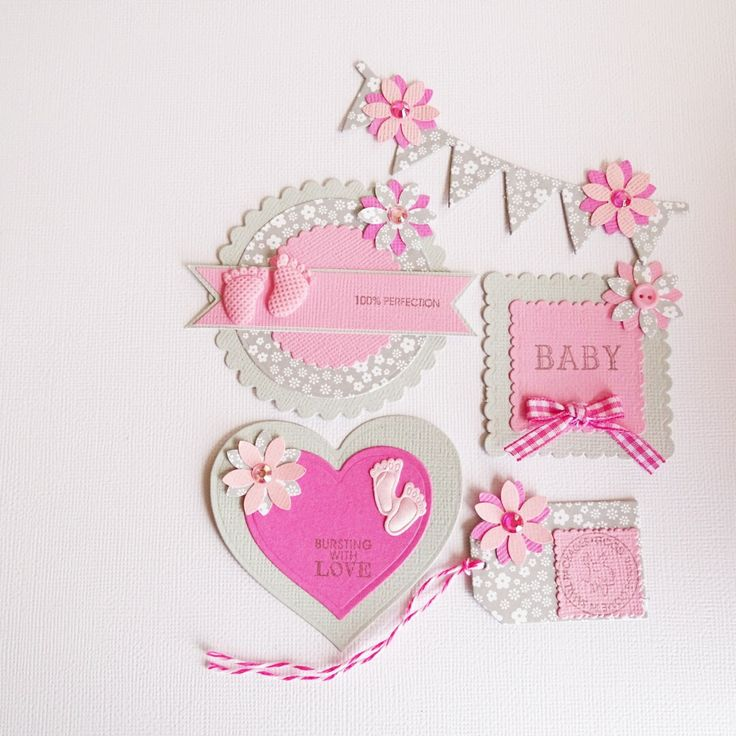 Pink baby girl scrapbook embellishments set of 5 - Baby girl embellishments for cardmaking - Craft supplies - Scrapbook decorations - Girls by prettypapernz on Etsy