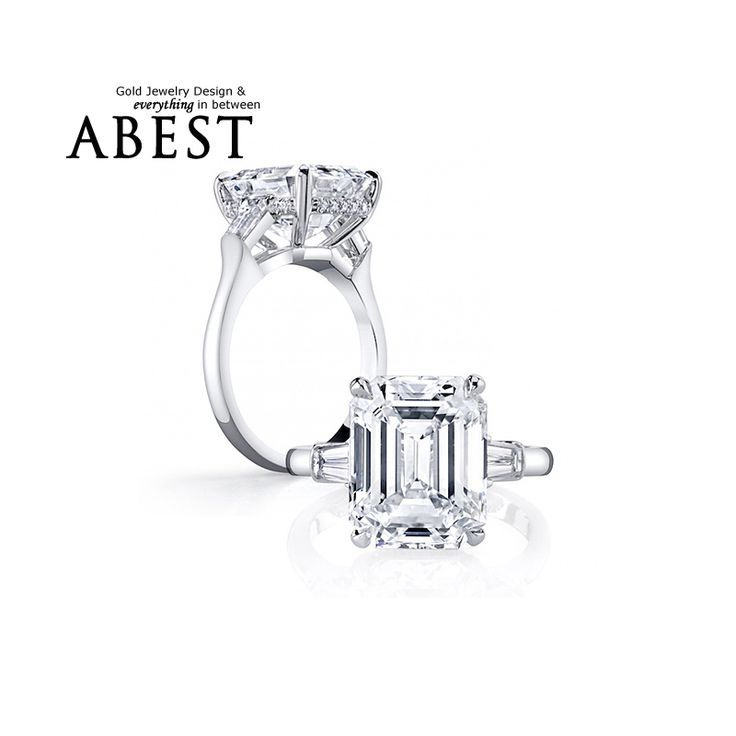 AINOUSHI 4 Carat Emeraled Ring Three Stones 925 Sterling Silver Square Rings Sona Engagement Ring Women Wedding Jewelry Aneis De