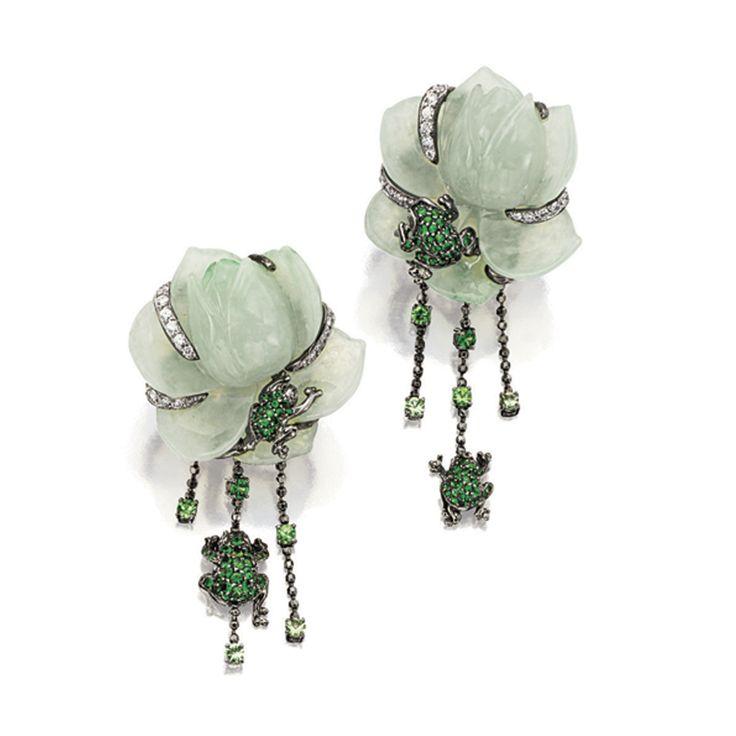 PAIR OF JADEITE, TSAVORITE GARNET AND DIAMOND 'FLOWER' EAR CLIPS, Lydia Courteille   lot   Sotheby's