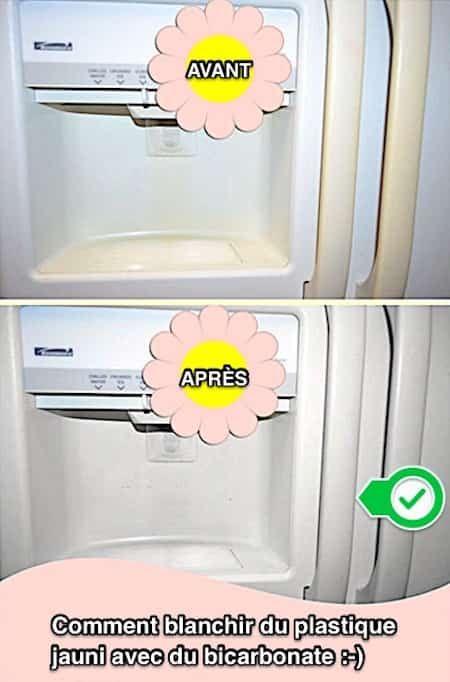 Utilisez du bicarbonate pour blanchir le plastique jauni du frigo