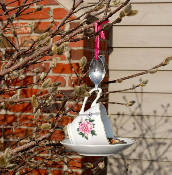 Tea Cup Bird Feeder with Hand Stamped Bent Spoon- LOVE