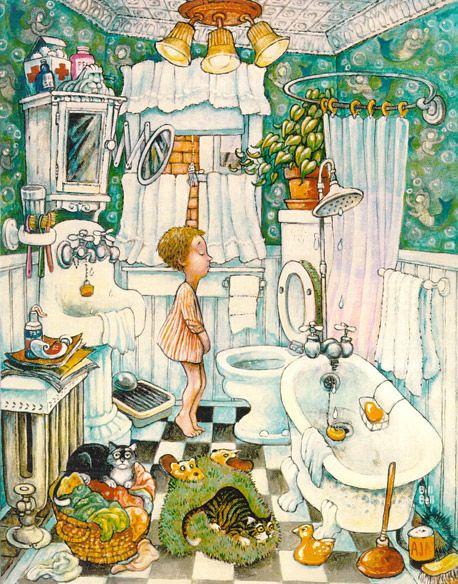 Bathroom Boy by Bill Bell { cats }