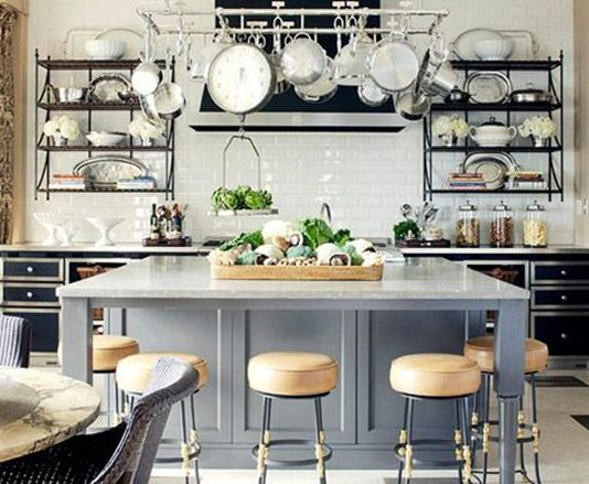 Grey island, subway tile and open shelving - can it get any more perfect?