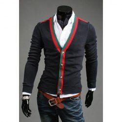$11.48 Suéter de Cuello en V de Estilo Coreano de Rayas Colorido Purfled de Cachemira Mezcla de Mangas Largas para los hombres