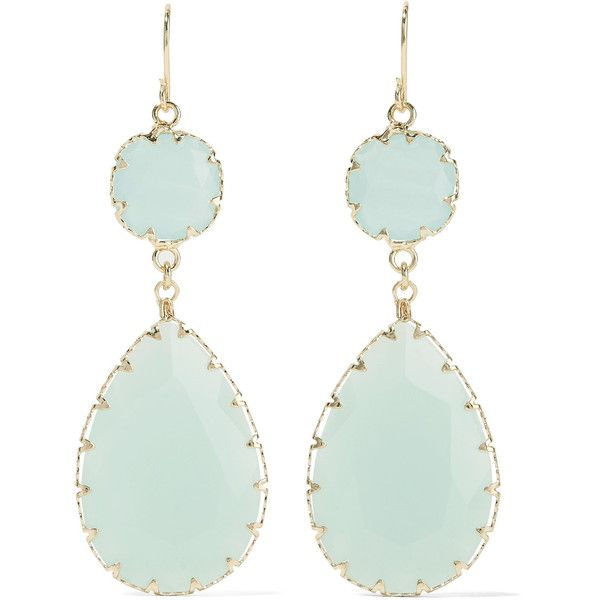 Kenneth Jay Lane - Gold-tone Crystal Earrings ($35) ❤ liked on Polyvore featuring jewelry, earrings, mint, gold tone earrings, pendant earrings, dragonfly earrings, mint green earrings and dragonfly jewelry