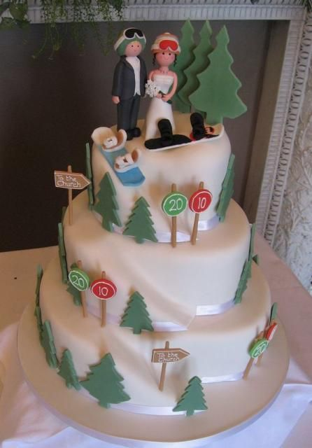 Snowboarding theme wedding cake with alpine trees and bride and groom toppers.JPG