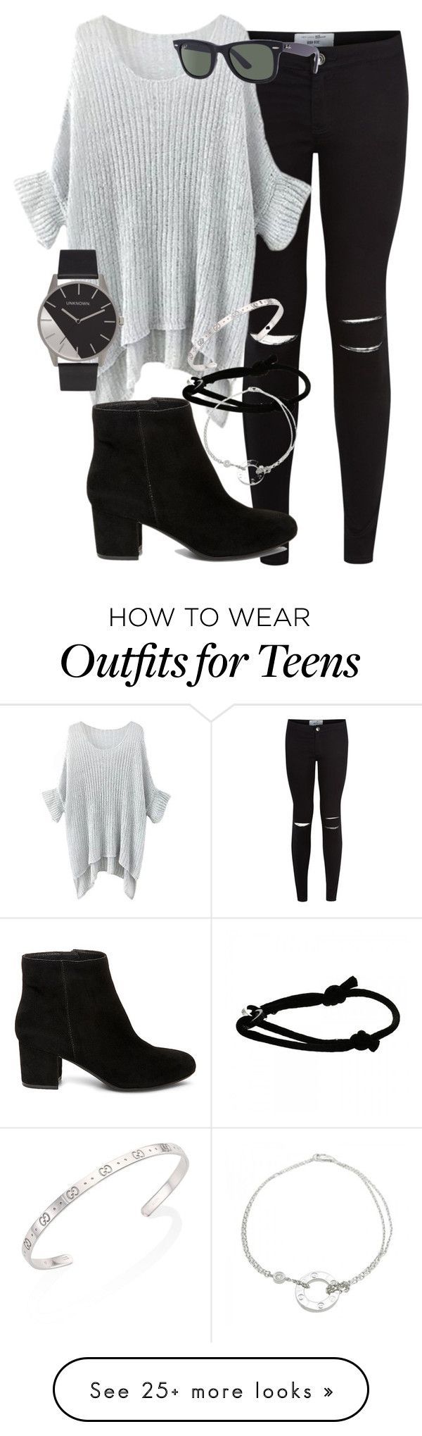 """Here's another tag( do it if you want )"" by star-lightt on Polyvore featuring New Look, Ray-Ban, Steve Madden, Cartier and Gucci"