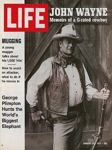"John Wayne ~ Life Magazine ~ January 28, 1972 issue ~ Click image or visit oldlifemagazines.com to purchase. Enter ""pinterest"" at checkout for a 12% discount."