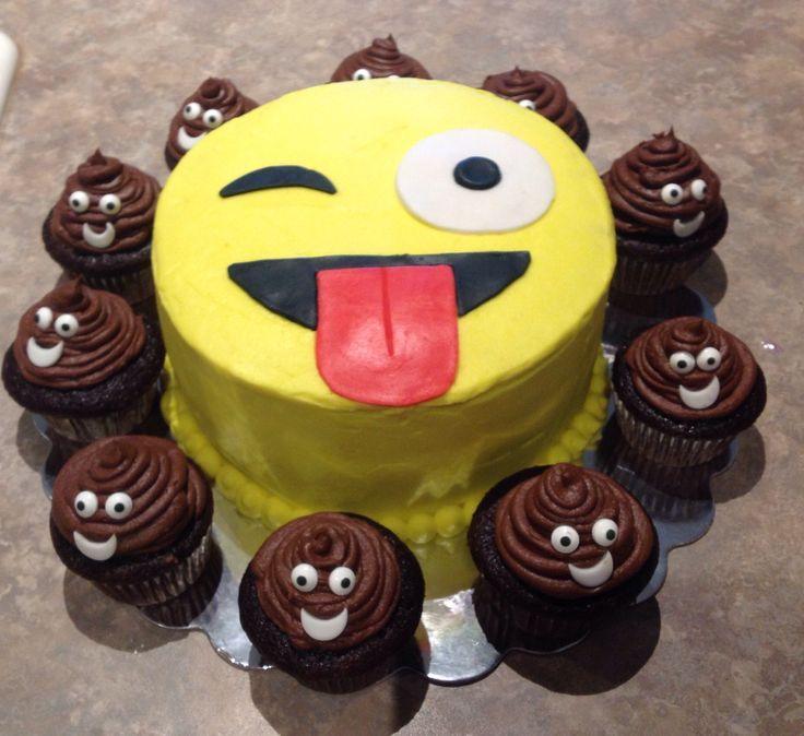 Emoji birthday cake w/emoji poop cupcakes