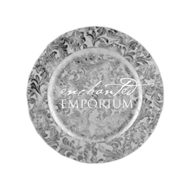 Silver Damask Charger Plate, Enchanted Emporium