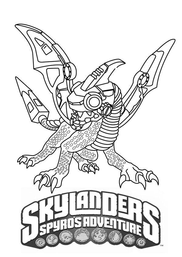 Skylanders coloring page drobot parties kids
