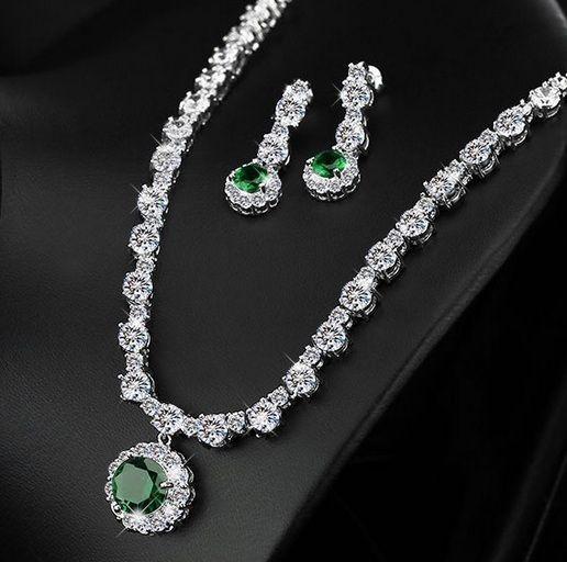 Jewelry Necklace Crystal Set Wedding Fashion Women Rhinstone Pendant Earrings CZ #Unbranded