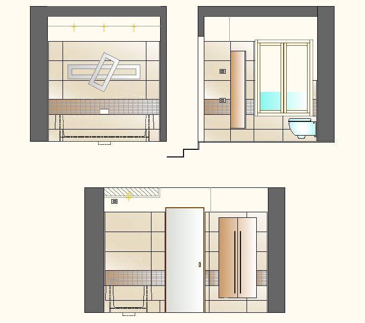 Ristrutturazione appartamento in dimora storica - Prospetti laterali bagno ragazzi - Maria Teresa Azzola Designer - Nembro (BG) 2012-2013