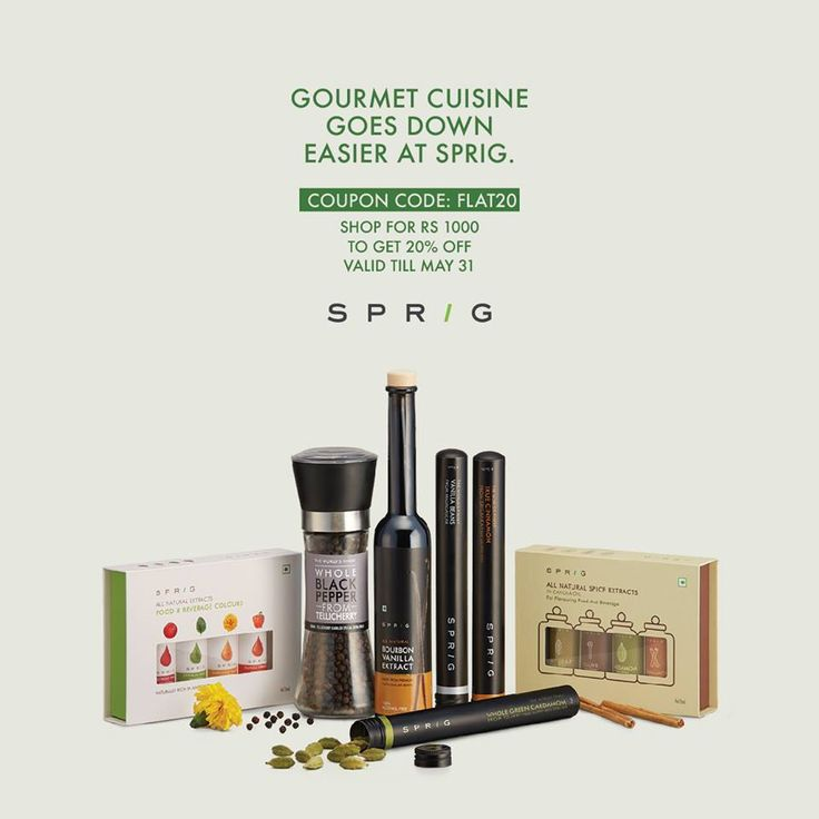 Sprig gourmet products at 20% off! Use code FLAT20 during checkout. Hurry! https://goo.gl/q172b6 #SprigGourmet #GourmetCuisine #Onlineorder