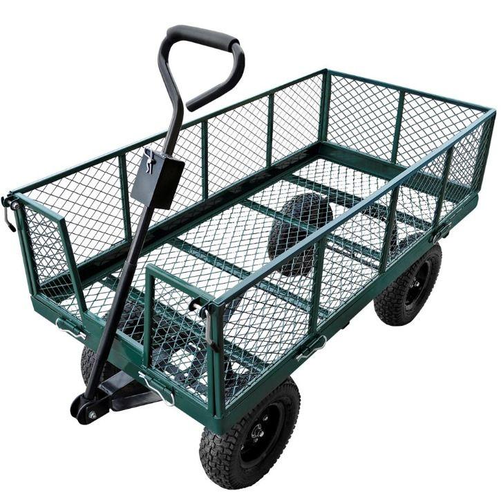 Heavy Duty 4 Tires Gardening Farm Steel Nursery Garden Wagon