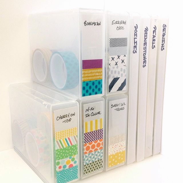 """A tip so good we couldn't wait to share it! Stampin' Up! concept artist, Kaitlyn Z., uses our Half Wide Stamp Cases (item 127552) to store her Designer Washi Tape. Put a sample strip from each roll on a piece of vellum (cut 3-1/4"""" x 1"""" to fit the spine), write the name of the collection at the top, and adhere it to the case. Genius! #BonusTipWednesday #ThatsNotReallyAThing"""