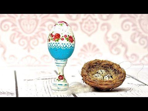 Decoupage   turkusowa pisanka -  DIY tutorial Декупаж пасхального яйца. Интересное оформление нижней половины
