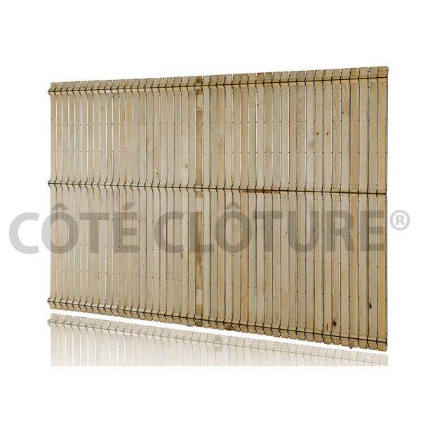 Kit d\'occultation lattes bois - brise vue pour clôture panneau rigide