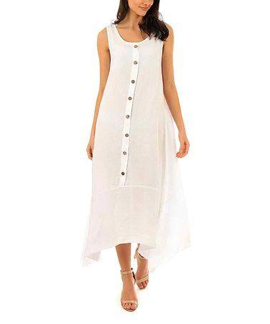 2319c79a81 Look what I found on  zulily! White Sleeveless Handkerchief Linen Maxi  Dress - Women