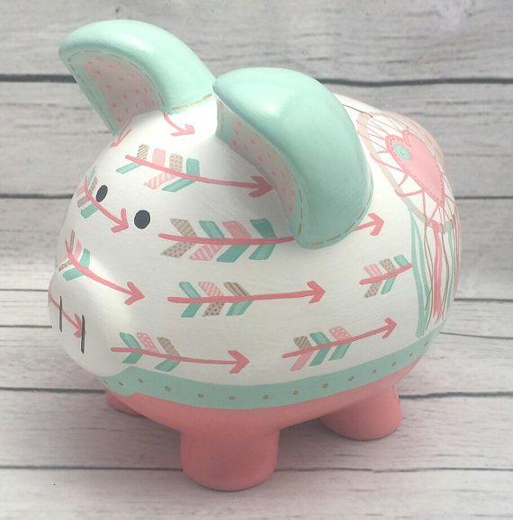 Alcancía personalizada Boho Chic flechas y Dreamcatcher Piggy