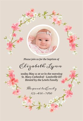 Floral Baby - Free Printable Baptism & Christening Invitation Template | Greetings Island