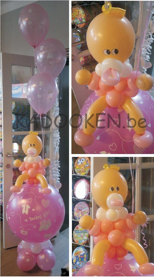 Geboorteballonnen, baby uit ballonnen gemaakt, babyballon, ballondecoratie, versiering babyborrel, ballonnen doop