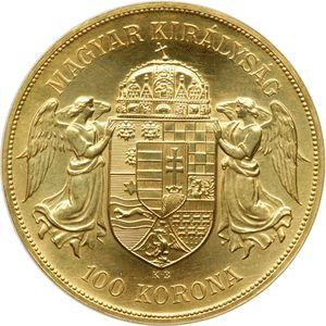 Moneda de oro 100 Coronas Hungria 1908 reverso