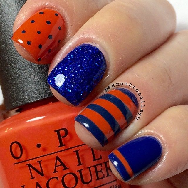 Orange & Blue glitter stripes & polkas dots (UTSA colors) using @opi_products Dating a Royal and Brights Power Stripes on ring finger from @nailsredesigned