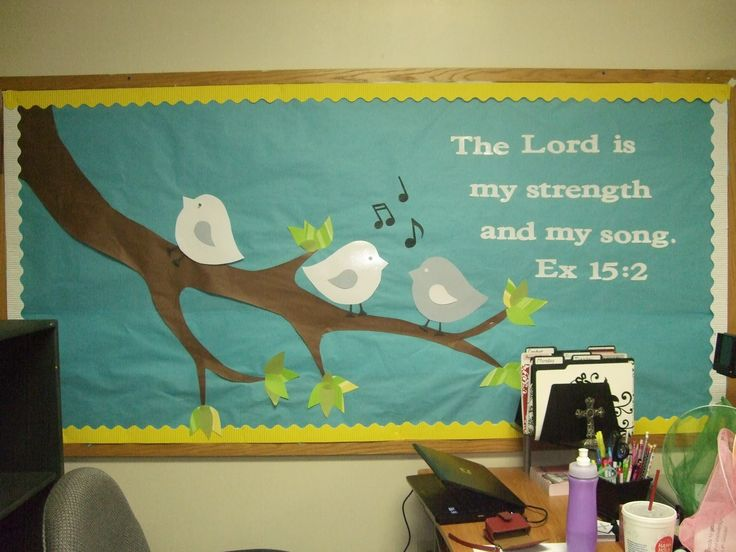 sunday+school+bulletin+boards | Another spring board. Tree branch with cute little birds on them. The ...
