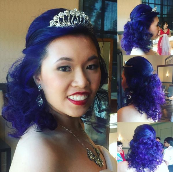 Michelle was such a beautiful bride! Her purple updo by Manda Kay was the perfect combination of classic style and edgy color. (bridal up-do, purple hair, curls, hairstyle)