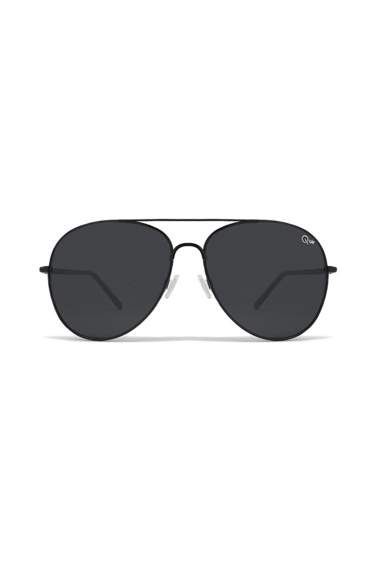 Quay Australia - Flag Ship Black Aviator Designer Sunglasses