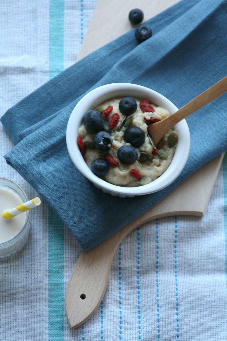 Teff ontbijt met blauwe bessen