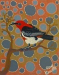 "Artist: 		KROCETTE    Title: 		""Scarlet Thornbill Honeyeater""    Medium:	Acrylic on Canvas    Price: 		$590    Size: 	355 x 280mm    Signed: 		KROCETTE 2012  Kidogo Art Institute - Gallery"