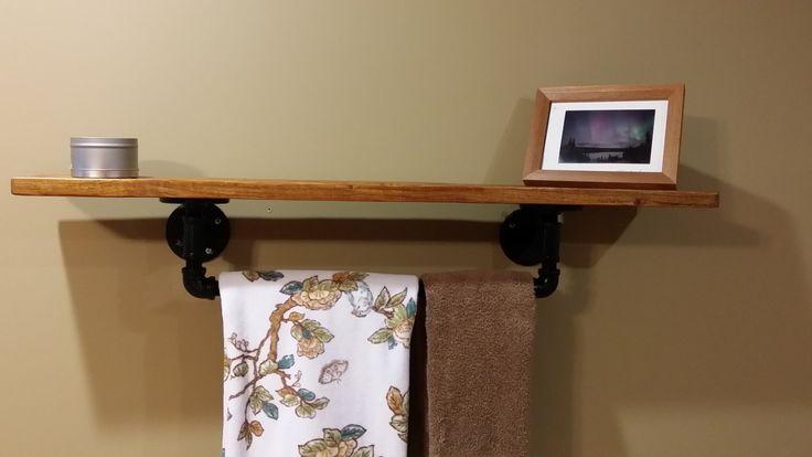 Bathroom Accessory – Towel Rail and Bathroom Shelf – Reclaimed Wood and Pipe – Rustic Bathroom Décor by GeorgiaRustics on Etsy https://www.etsy.com/listing/245323812/bathroom-accessory-towel-rail-and