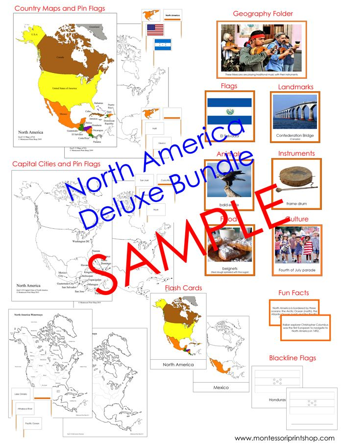 Deluxe North America Geography Bundle Maps Pin Flags Facts
