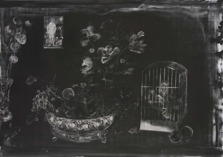 Christopher Cook 'Furious birds' graphite and oil on paper 72 x 102cm 2017