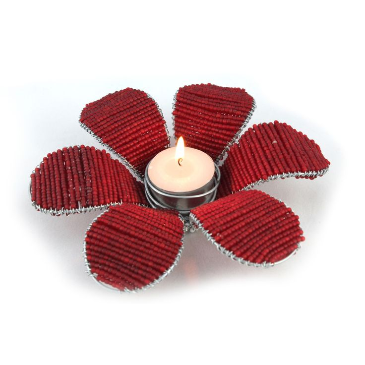 Beautiful beaded flower candle holder for restaurant or function table.