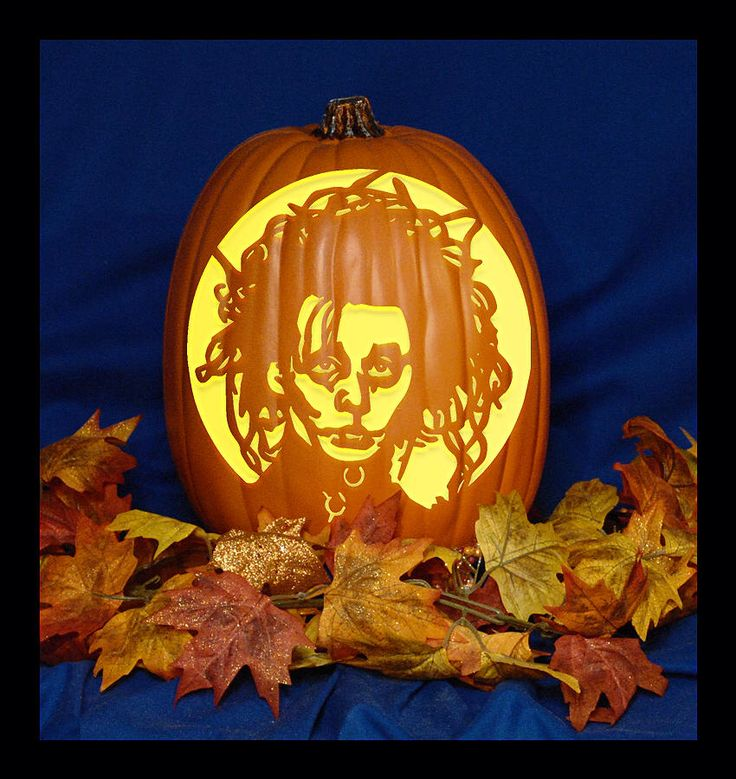 Edward scissorhands hand carved on a foam pumpkin plug