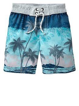 Tropical beach swim trunks