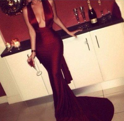 Modest Mermaid Dark Burgundy Red Prom Dress Long Prom Dresses Fitted Sexy Backless Evening Gowns