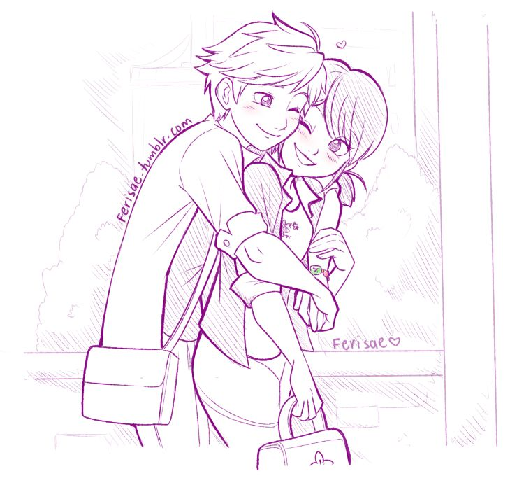 Post-Reveal Adrien hugging Marinette in the morning! by Ferisae