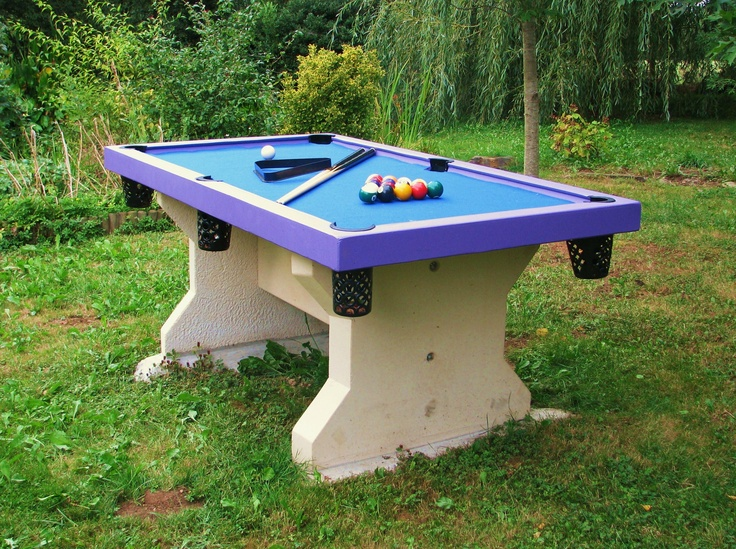 Blue And Purple Outdoor Billiards Fun!