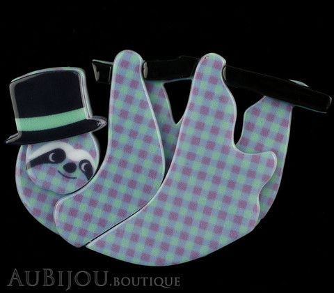 Erstwilder Brooch Pin Seth the Sloth Mint Green Purple