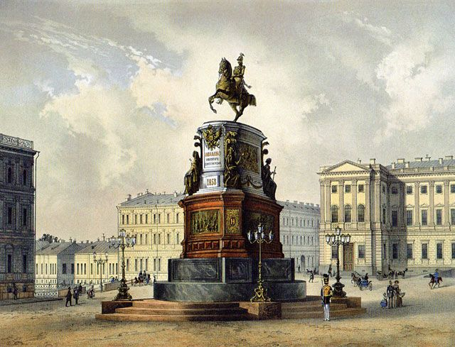 Литограф К. Шульц по рисунку И. Шарлеманя. Монумент в бозе почившему императору Николаю I. 1850-е г.
